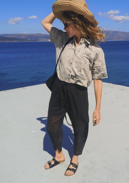 Unisex Berenik Chain Smoke Georgette Loose Elastic Pants - Black