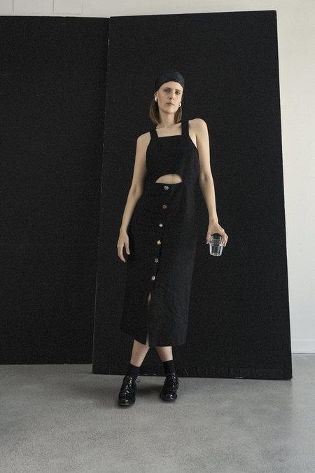K M by L A N G E Open Back Vintage Buttons Dress - Black
