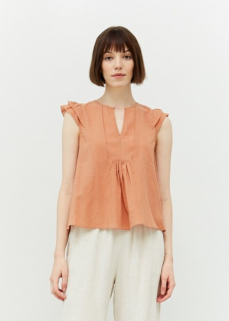 Mabel and Moss Ruffled Sleeve Blouse - Apricot