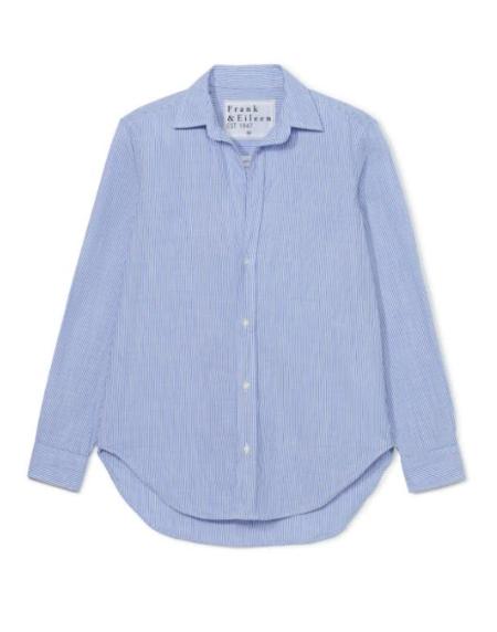 Frank & Eileen Woven Button Up - Blue/White Stripe