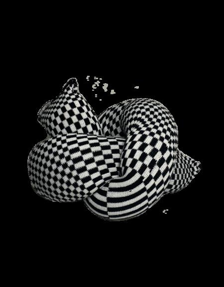 Zebra Knits CHECK CHUNKY Pillow - Black/White