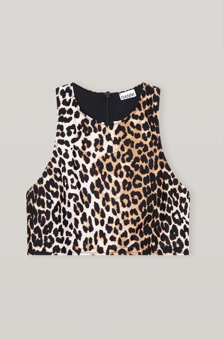 Ganni Racerback Swim Top - Leopard