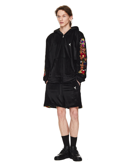 Doublet Black Velour Embroidered Shorts