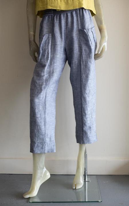 Yuvita Tapered Linen Chambray Pants - Gray