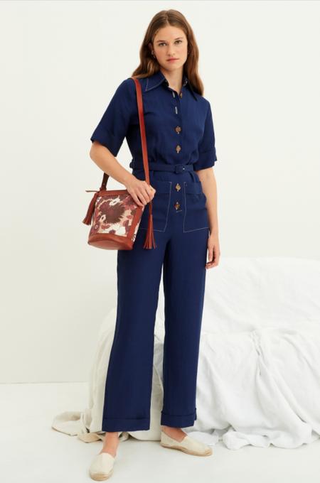 Antik Batik Oscar Linen Blend Jumpsuit - Indigo Linen