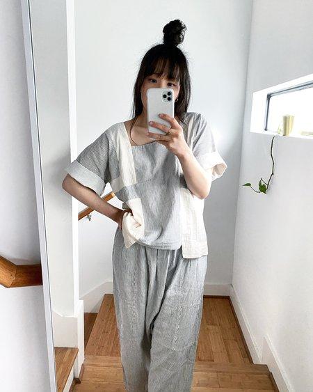Atelier Delphine Kiko Wrinkled Cotton Pant - Stripe