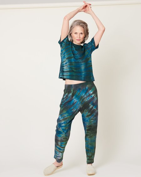 Raquel Allegra Easy Pant - Moss Aqua Tie Dye
