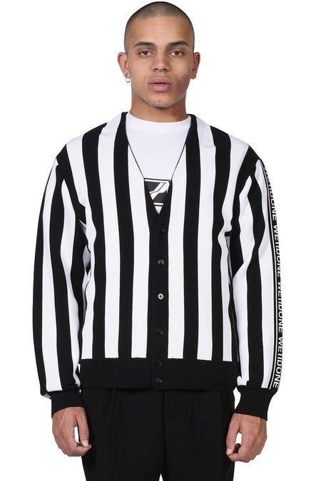 we11done Side Logo Jacquard Striped Cardigan - black/white