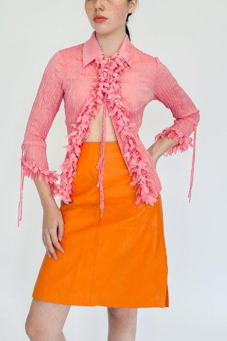 Vintage High Rise Leather Skirt - Tangerine