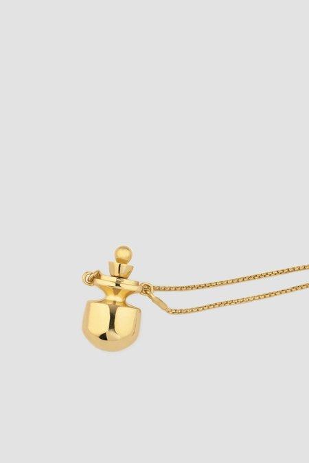 MM Druck petite Perfume Bottle Necklace - gold Vermeil