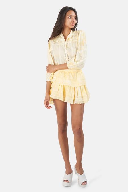 LoveShackFancy Ruffle Mini Skirt - Lemon Drop Hand Dye