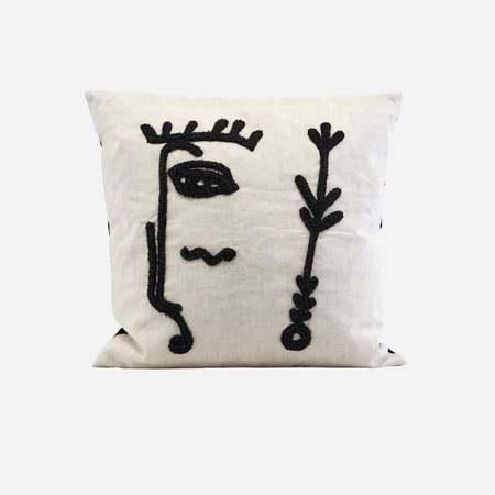 An Artful Life Ingo face silhouette cushion cover - natural/black