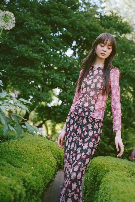 Anna Sui Garden of Posies Mesh Skirt - BLACK MULTI