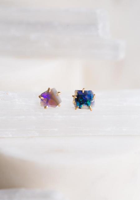 Variance Objects Blue Australian Opal Studs - 14KT-18KT Gold