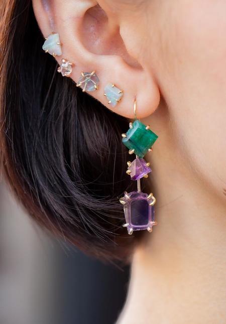 Variance Objects Brazilian Emerald Hook Earrings - 14KT-18KT Gold