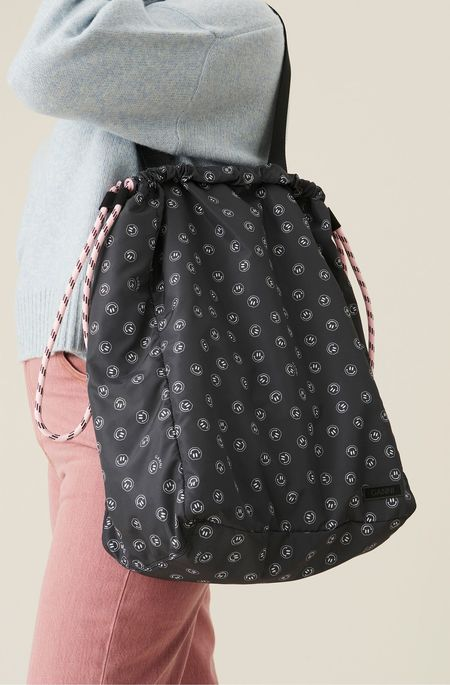Ganni Seasonal Recycled Tech Drawstring Bag - Phantom