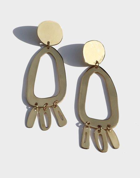 Modern Weaving Odd Oval Earrings - High Polish Brass