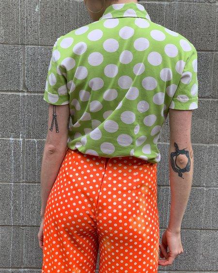 Vintage Dolce & Gabbana Dots Polo top - Lime