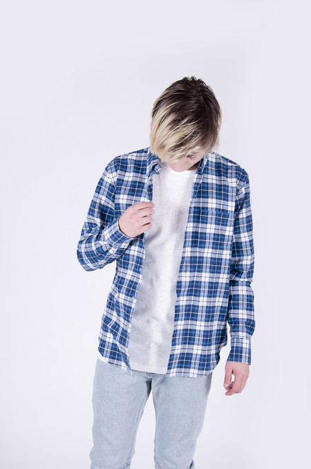 Naked & Famous Regular Shirt Raised Dobby Plaid White/Blue
