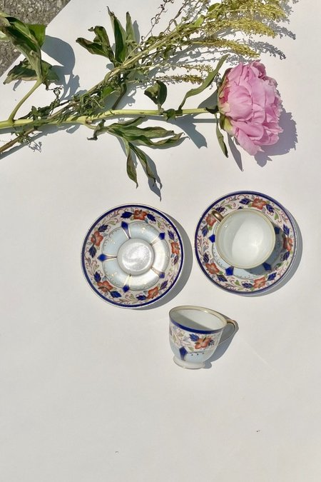 Vintage Hand Painted Gold China Espresso Cup And Tray