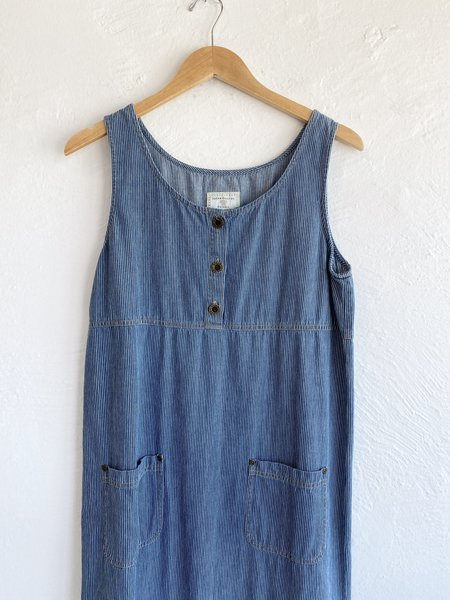 Vintage Pinstripe Denim Dress - blue