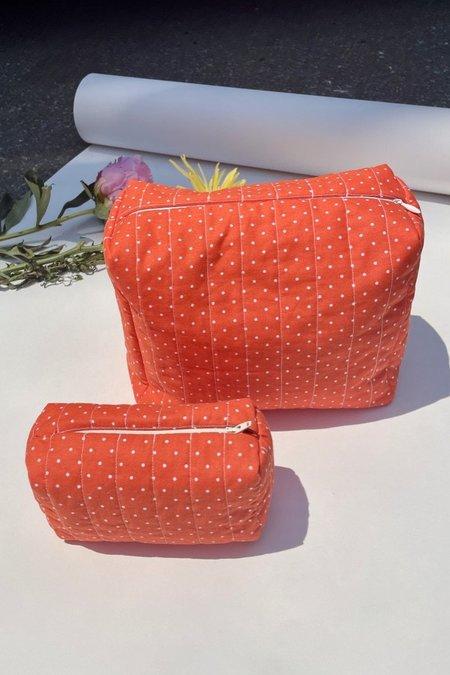 Cloak & Dagger Small Beauty Bag - Orange Polka Dot