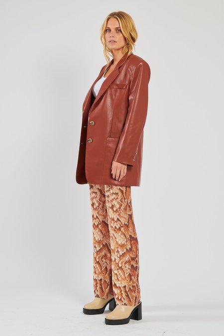 Nanushka Evan Leather Blazer - Brick
