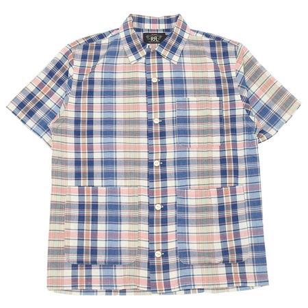 RRL  Indigo Plaid Woven Camp Shirt - Cream/Multi