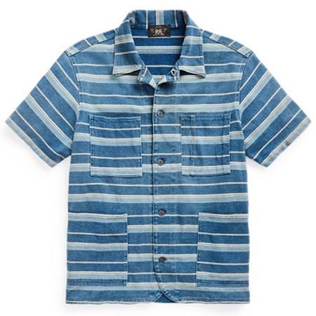 RRL Jersey Overshirt - RRL 116- INDIGO STRIPE