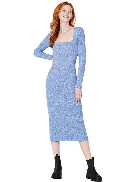 Ganni Melange Ribbed Rayon Knit Fitted Dress - Daphne