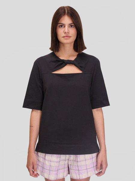 Ganni Basic Cotton Jersey Twist T-Shirt - Phantom