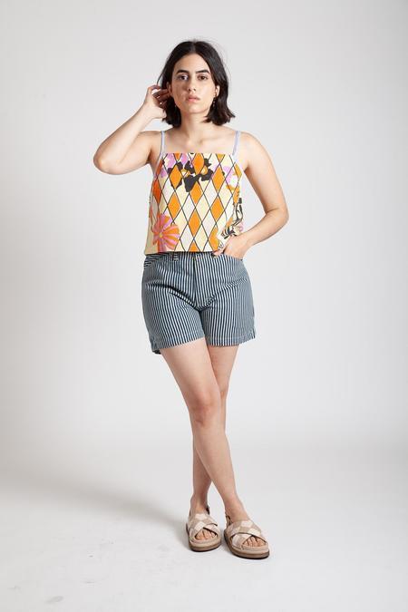 Gravel & Gold Painter Shorts - Conductor Stripe