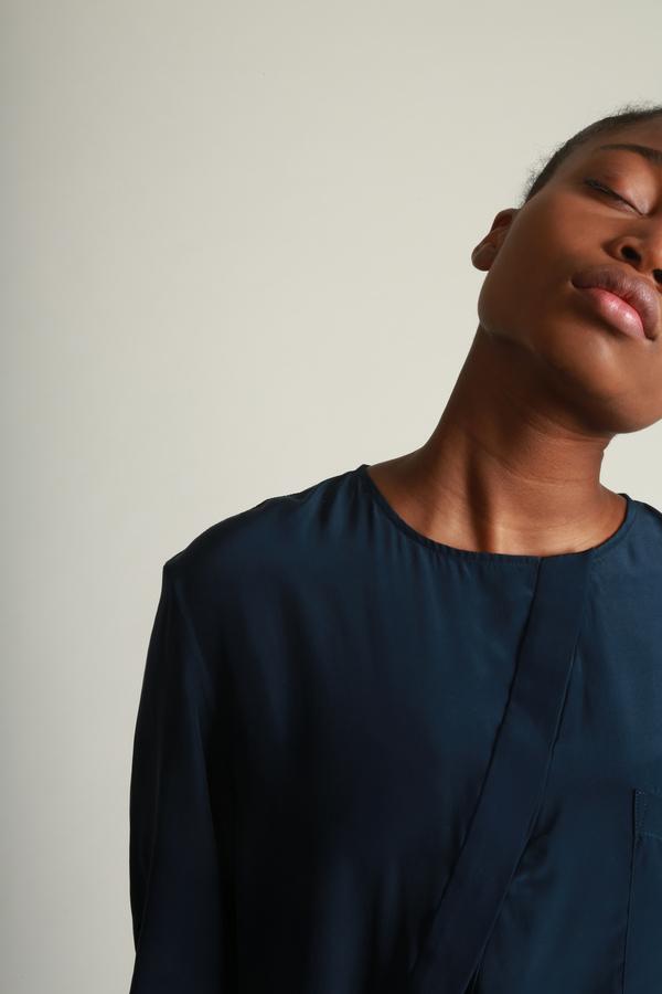 Vincetta Navy Asymmetrical Placket Shirt