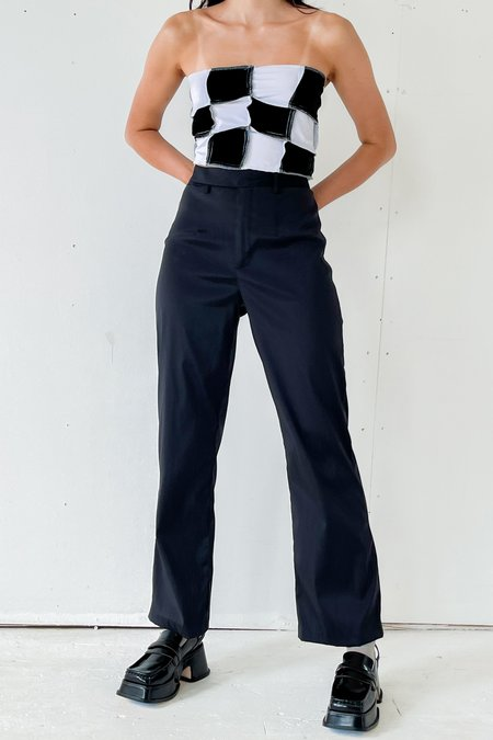 Vintage Iridescent Nylon Flared Trousers - Black