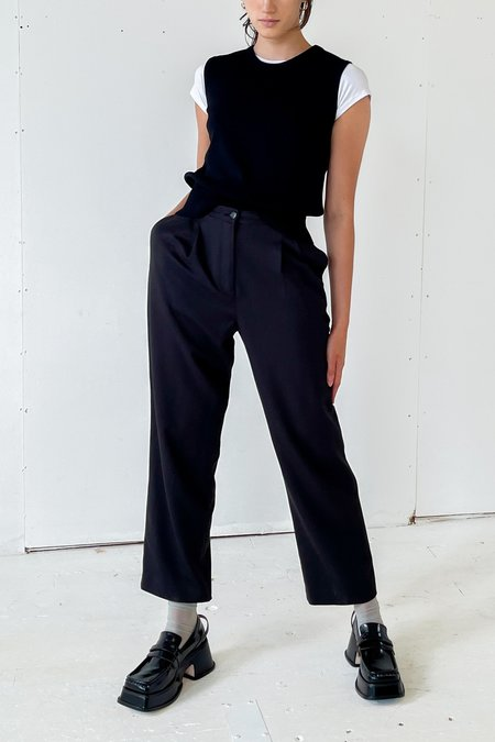 Vintage Classic Pleated Trousers - Black