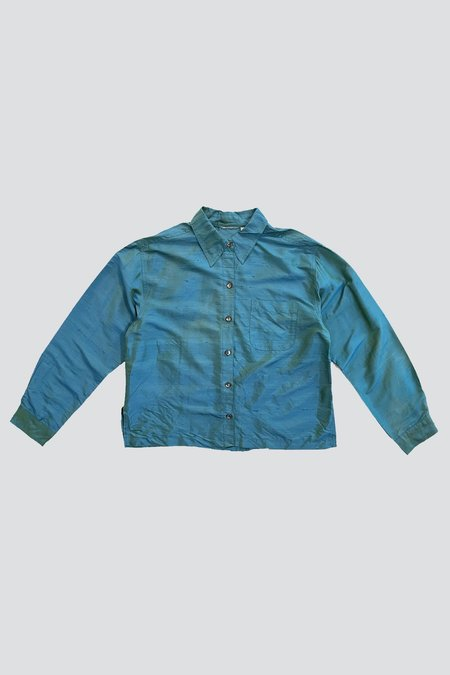 Vintage Raw Silk Shirt - Blue Green