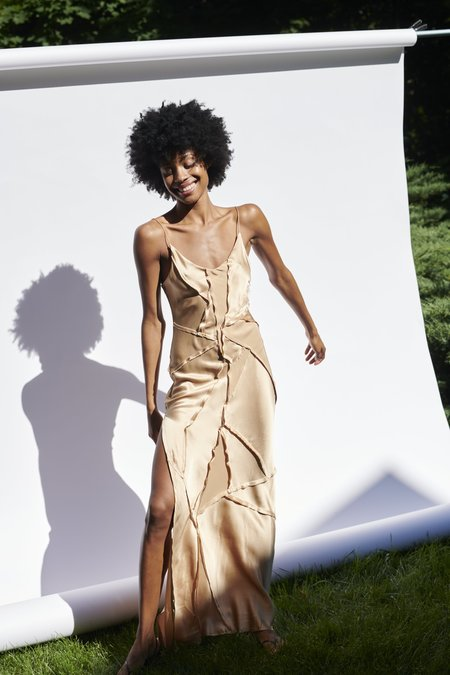 KES Elongated Recycled Dress with Slit - Desert