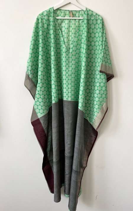 Two V-neck caftan dress - LIME/GREY