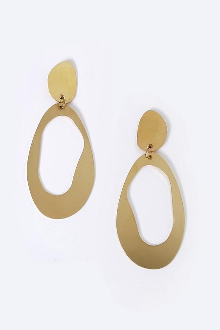 Modern Weaving Large Oval Earrings in Brass