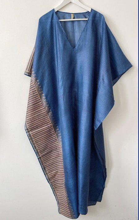 Two Silk V-neck caftan dress - Blue