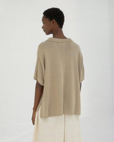 Mónica Cordera Knit Linen Polo TOP - Smoked Green