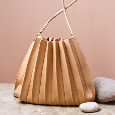 Melie Bianco Carrie Pleated Shoulder Bag - Taupe