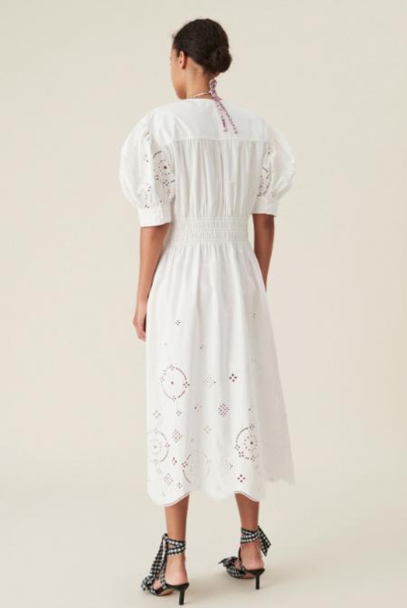 Ganni Broderie Anglaise Midi Dress - white