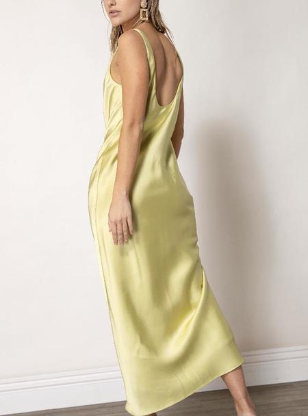 Line & Dot Sidney Satin Slip Dress - Chartreuse