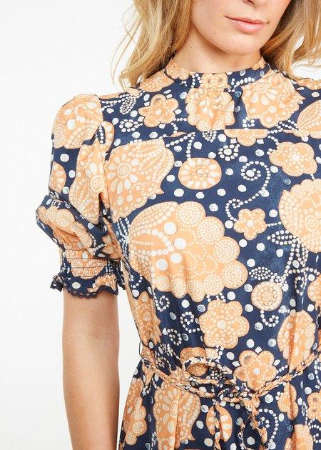 THE ODELLS Maribelle Dress - Indigo Multi Print