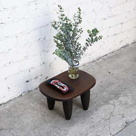 VINTAGE Made Solid Small Antique Senufo Stool - Brown