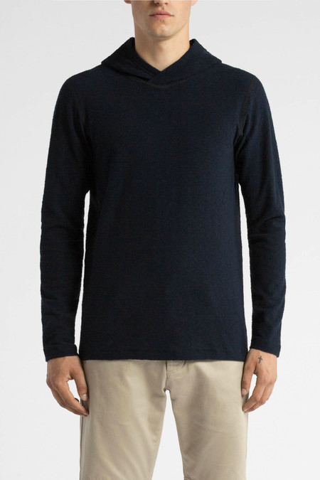 Wings + Horns Loop Knit Hooded Pullover | Navy