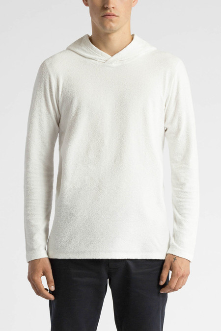 Wings + Horns Loop Knit Hooded Pullover | White