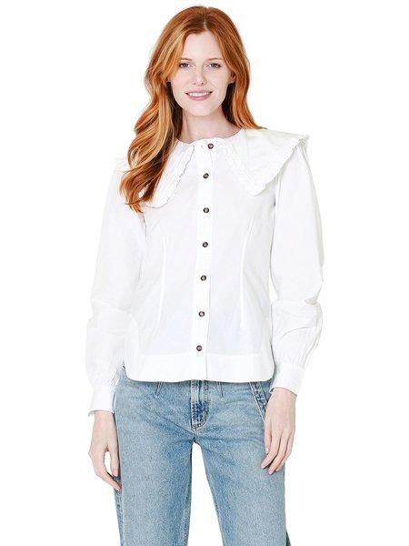 Ganni Cotton Poplin Fitted Shirt - White