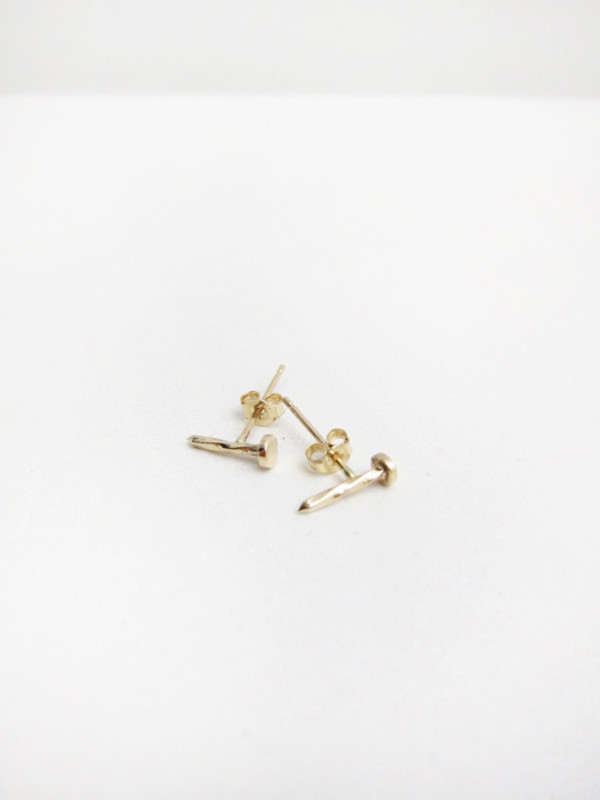 Lauren Klassen Tiny Nail Earrings, 14k gold